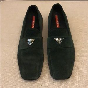 Green suede Prada loafers